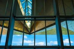 Dak en venster van Pulkovo-luchthaventerminal Stock Foto