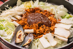 Dak Galbi, Korean stir-fried meat and seafood in spicy sauce Royalty Free Stock Photography