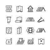 Dak, housetop bouwmaterialen, waterdicht makende dunne vectorpictogrammen stock illustratie