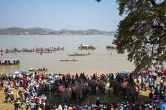 Dak Lak,越南- 2017年3月12日:传统独木舟和大象赛跑的节日在Lak湖在Dak Lak,中心hig 库存图片