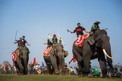 Dak Lak,越南- 2017年3月12日:由Lak湖的大象赛跑的节日在Dak Lak,越南的中心高地 图库摄影