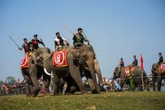 Dak Lak,越南- 2017年3月12日:由Lak湖的大象赛跑的节日在Dak Lak,越南的中心高地 免版税库存照片