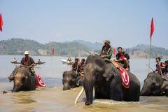 Dak Lak,越南- 2017年3月12日:赛跑在水节日的大象由Lak湖在Dak Lak,越南的中心高地 库存图片