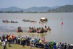 Dak Lak, Vietnam - 12 de marzo de 2017: Elefante que compite con en festival del agua por el lago lak en Dak Lak, montaña de cent Imagenes de archivo