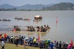 Dak Lak, Vietnam - 12 de marzo de 2017: Elefante que compite con en festival del agua por el lago lak en Dak Lak, montaña de cent Foto de archivo libre de regalías