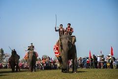 Dak Lak, Vietnam - 12 de marzo de 2017: Festival que compite con del elefante por el lago lak en Dak Lak, montaña de centro de Vi Imágenes de archivo libres de regalías