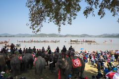 Dak Lak , Vietnam - March 12, 2017 : Traditional dug-out canoe and elephant racing festival on the Lak lake in Dak Lak, center hig. Hland of Vietnam Royalty Free Stock Images