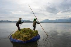 Dak Lak, Vietnam - 22 ottobre 2016: Agricoltori che muovono barca fatta dello strato della tela per trasportare riso sul lago nel Fotografie Stock Libere da Diritti