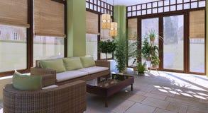 Dak - terras in een moderne stijl Royalty-vrije Stock Foto's