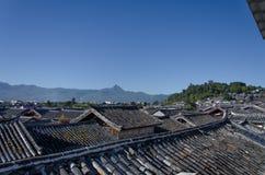 Dak van de oude stad van Lijiang Stock Afbeelding