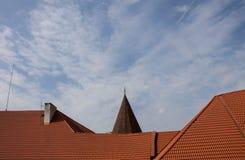 Dak van het huis met rode daktegels Stock Fotografie