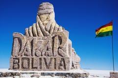Dakar BOLIVIA. The Dakar BOLIVIA rally statue in the Salar de Uyuni (salt flats of Uyuni) in Bolivia Royalty Free Stock Photography