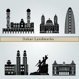 Dakar landmarks and monuments isolated on blue background royalty free illustration