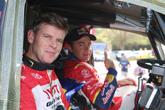 Dakar legends Navigator, Dirk von Zitzewitz and driver  Giniel d. Sun City, South Africa – OCTOBER 1, 2016: Dakar legends Giniel de Villiers and navigator Stock Photo