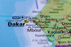 Dakar on map. Close up shot of Dakar. is the capital and largest city of Senegal Stock Images