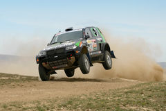Dakar rally winner Bruno Saby jumping Stock Images