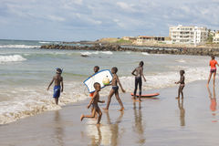 Dakar residents enjoying themselves at the beach Royalty Free Stock Photo
