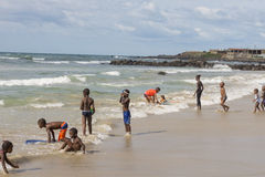Dakar residents enjoying themselves at the beach Stock Photos