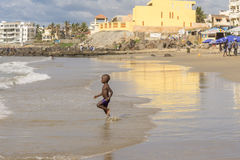 Dakar residents enjoying themselves at the beach Stock Images