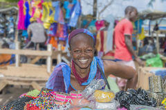 Dakar, Senegal, Africa – July 20, 2014: Unidentified street seller at Sandaga Market Stock Photography