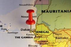 Dakar steckte Karte, Hauptstadt von Senegal fest Lizenzfreies Stockfoto