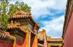 Dakdecoratie in de Verboden Stad, Peking Royalty-vrije Stock Afbeeldingen