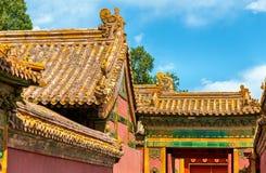 Dakdecoratie in de Verboden Stad, Peking Stock Afbeelding