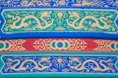 Dakdetail met draakontwerp bij de Verboden Stad, Peking Royalty-vrije Stock Afbeeldingen