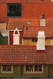 Daken en oude schoorstenen Royalty-vrije Stock Foto