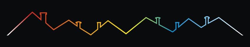 Daken en schoorstenen, multicolored contourtekening, vectorpictogram royalty-vrije illustratie