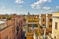 Daken in Rome dichtbij Spaanse stappen Stock Foto's