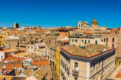 Daken van Cagliari in Sardegna stock afbeelding