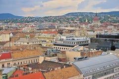 Daken van de stad van Boedapest, hoofdstad van Hongarije Stock Foto