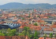 Daken van de stadscentrum van Graz, Oostenrijk Royalty-vrije Stock Foto