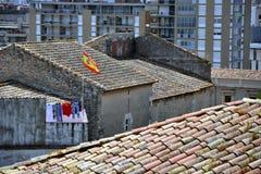 Daken van Girona stad, Catalonië, Spanje Stock Afbeelding