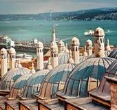 Daken van het bad achter Suleymaniye-Moskee Istanboel royalty-vrije stock afbeelding
