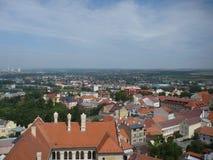 Daken van huizen in M?lník-stad Stock Foto