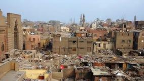 Daken van oud Kaïro stock video