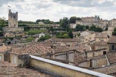 Daken van oude huizen in klein dorp Royalty-vrije Stock Foto's