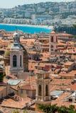 Daken van oude stad aardig in Frankrijk Stock Afbeeldingen