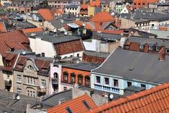 Daken van ToruÅ stad, Polen stock foto's