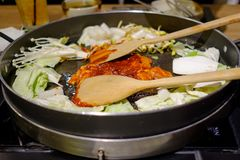 Dakgalbi is Korean famous food Sliced chicken royalty free stock photo