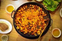 Dakgalbi o receta asada a la parrilla picante del pollo y de las verduras Imagenes de archivo