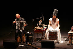 DakhaBrakha at solo concert at theater stock photos
