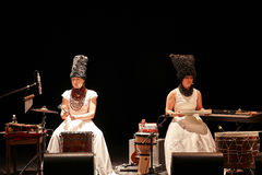 DakhaBrakha at solo concert at theater. LVIV, UKRAINE - MARCH 18, 2015: Ukrainian folk quartet solo concert in honor of their founding decade at Lviv theatre on Royalty Free Stock Images