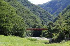 Dakigaeri gorge. In Senboku, Akita, Japan stock images