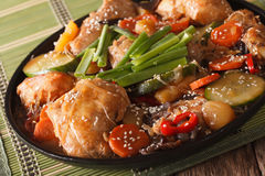 Dakjim braised chicken with vegetables in a Korean style close-up. horizontal royalty free stock photos