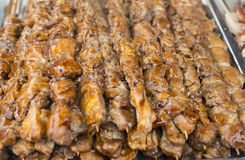 Dakkochi Chicken Skewers. Stack of dakkochi, the traditional Korean chicken skewers stock photos