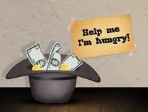 Dakloze hoed met geschonken geld royalty-vrije illustratie