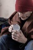 Dakloze mens die domein eten royalty-vrije stock foto